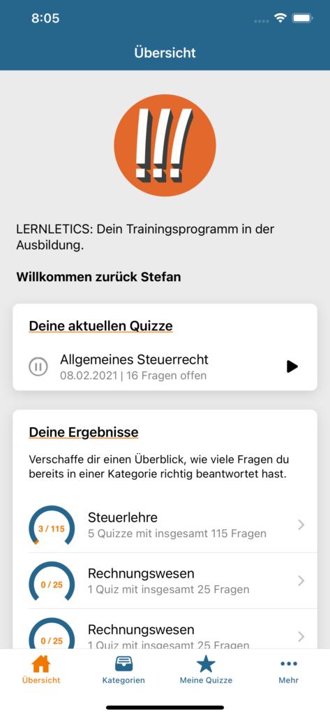 Screenshot iOS 1 - Startseite nach Login