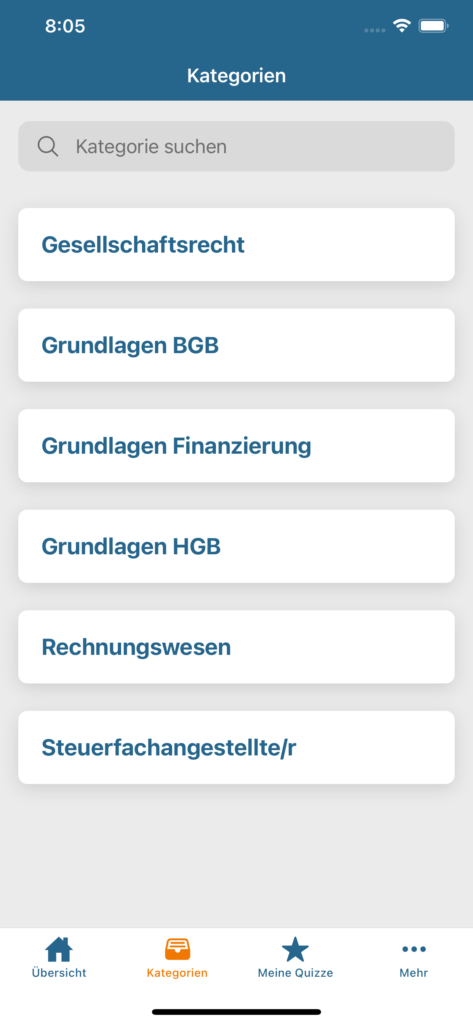 Screenshot iOS 2 - Auswahl Kategorie