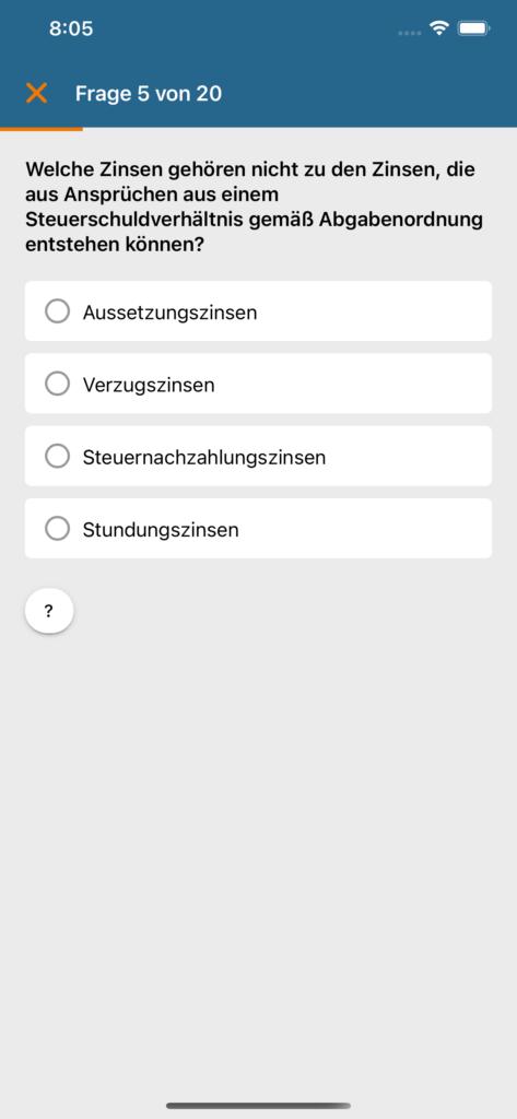 Screenshot iOS 4 - Frage mit Antworten